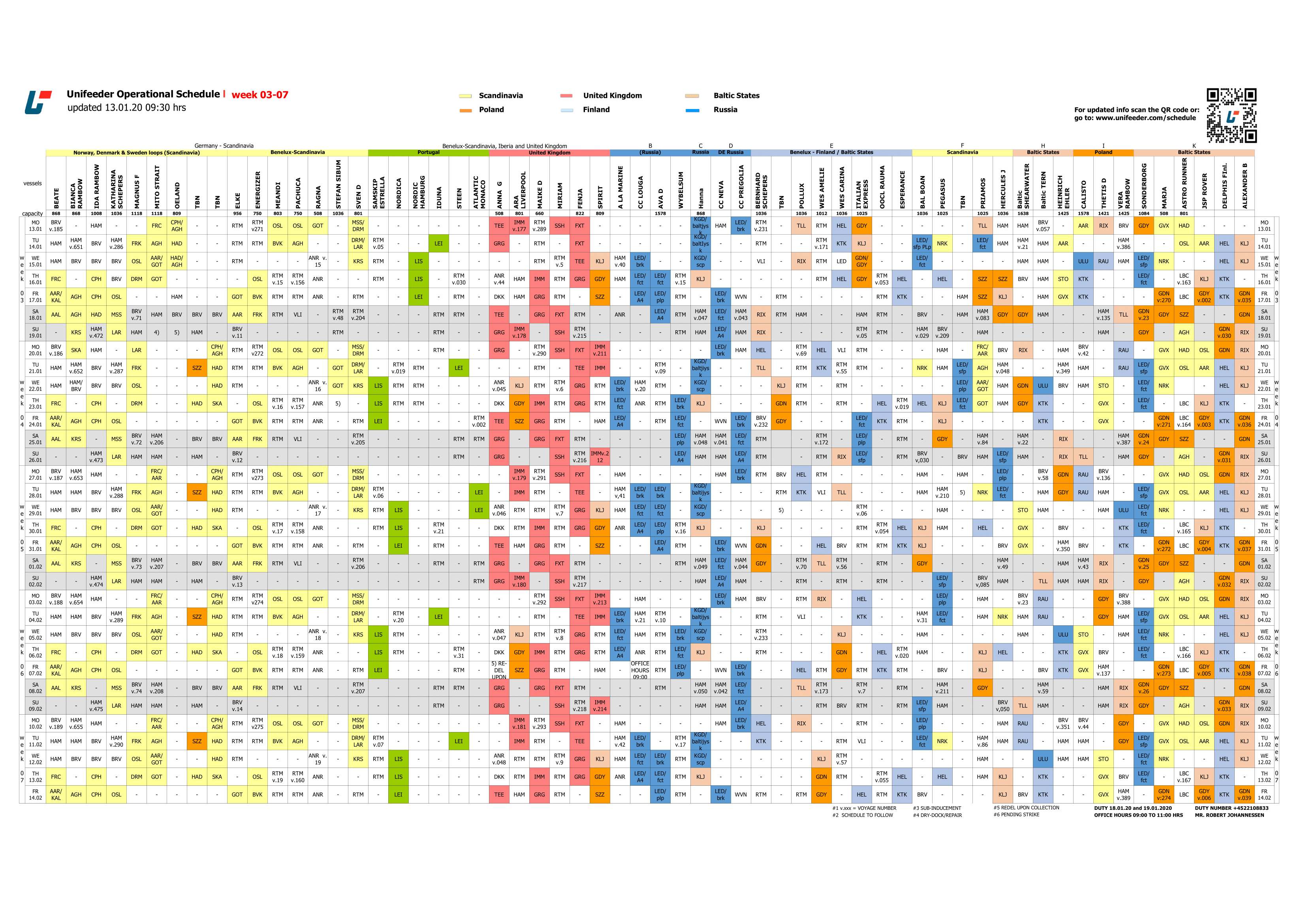 Schedule colour