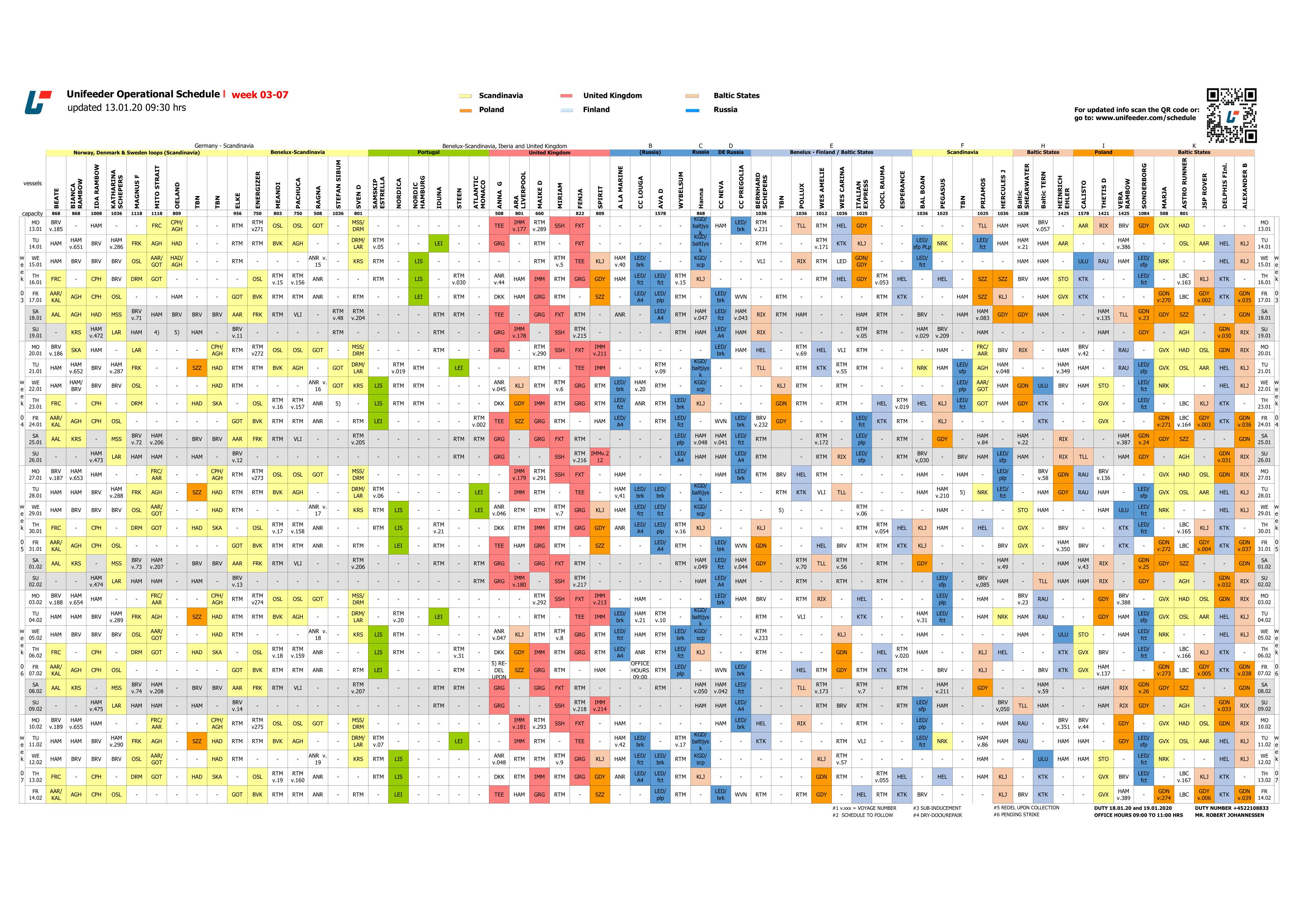Schedule colour